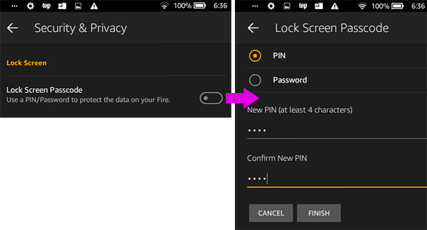 Setting a lock screen passcode on an Amazon Fire