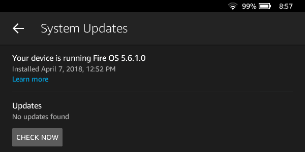 System updates on an Amazon Fire