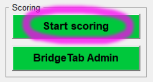 Scoring section of the main BOS software menu with Start Scoring button circled