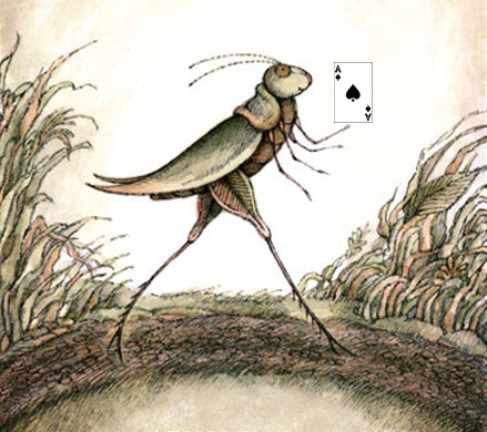 Grasshopper on the trail carrying the ace of spades