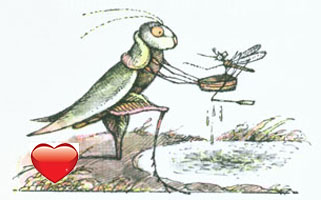 Grasshopper picking up Mosquito and his ferryboat