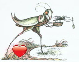 Grasshopper takes a step, carrying the Mosquito and his ferryboat