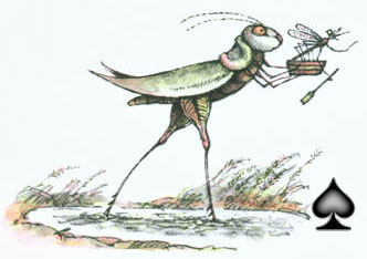 Grasshopper takes a second step, carrying the Mosquito and his ferryboat, reaching the other side of the puddle