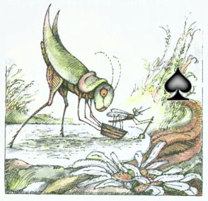 Grasshopper putting the Mosquito and his ferryboat down at the other side of the puddle