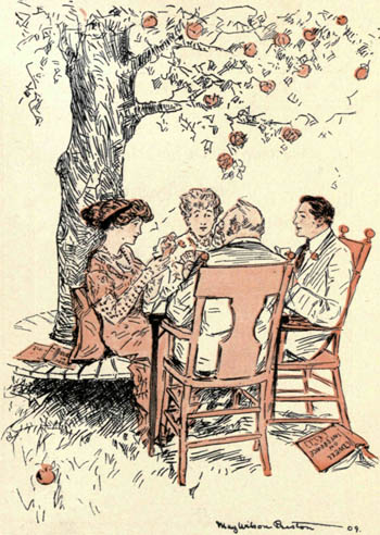 four people playing bridge outside under a tree; illustration from the Rubáiyát of Bridge