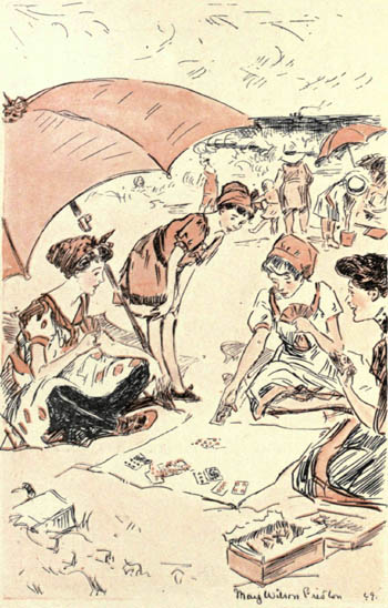 four women playing bridge at the beach; illustration from the Rubáiyát of Bridge