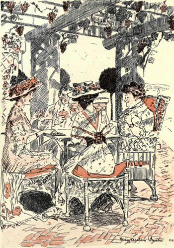 four people playing bridge outside under a trellis; illustration from the Rubáiyát of Bridge