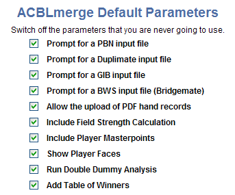 Screenshot of ACBLmerge parameters in Bridge Results