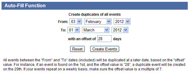 Screenshot of adding a regularly schedule event in Bridge Results