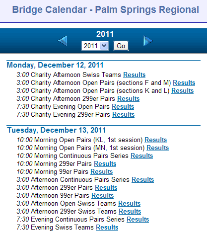 Subset of calendar in list view for the Palm Springs regional on Bridge Results