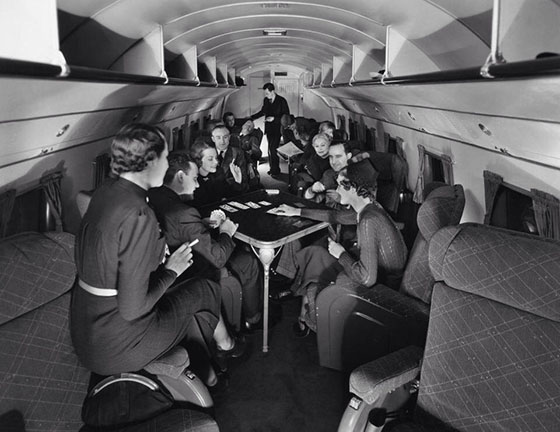 A game of bridge on a United Airlines flight in the 1930s