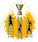 Three people climb ladders towards a trophy
