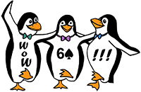 Three dancing penguins, arm to arm