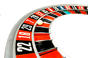 Part of a roulette wheel with ball in number 7 slot