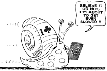 slow bridge player depicted as snail about to set a world record for slowness