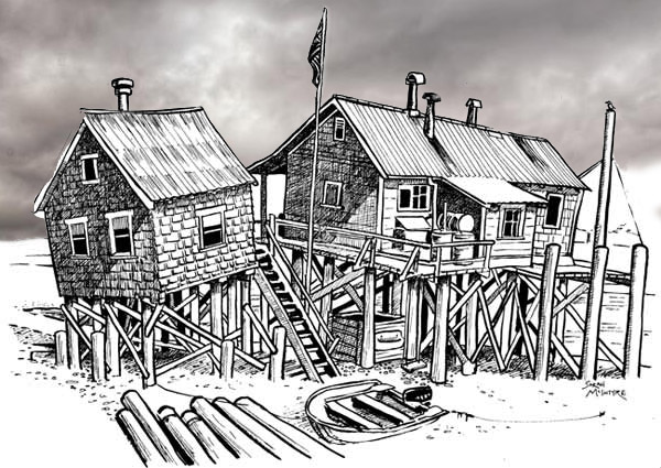 Stilt houses with a cloudy ski for the background